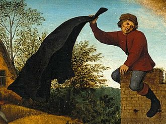 The Blue Cloak - The black huik in the same 1599 painting, subject of the proverb To hang one's cloak according to the wind or to change one's mind according to fancy