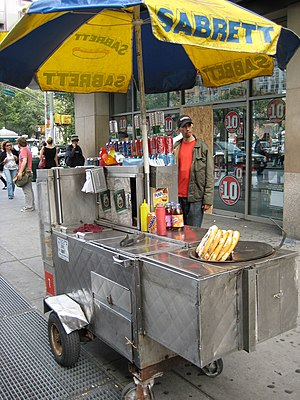 Food cart - Sabrett hot dog cart in New York City, run by a street vendor