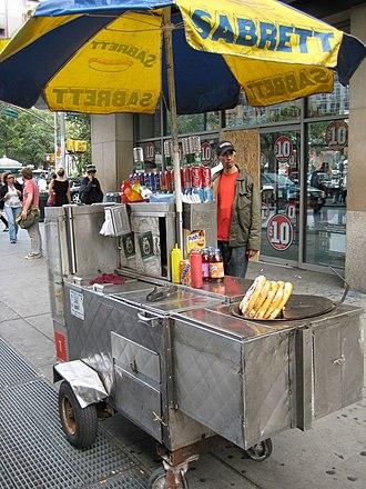 Food cart - Sabrett hot dog cart in New York City, run by a street vendor