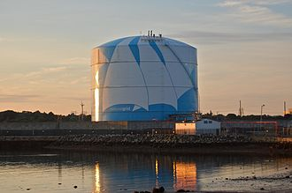Natural gas storage - A liquefied natural gas storage tank in Massachusetts.