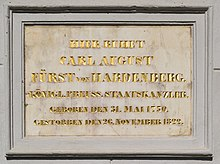 Gedenktafel an der Schinkelkirche in Neuhardenberg (Quelle: Wikimedia)