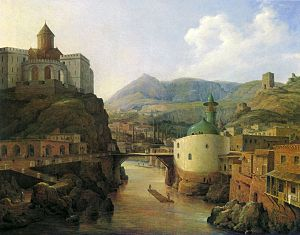 "Metekhi - The Metekhi cliff and surroundings by a Russian painter N. G. Chernetsov, 1839. Opposite is seen the ""Shah-Abbas Mosque"" (1600s)"