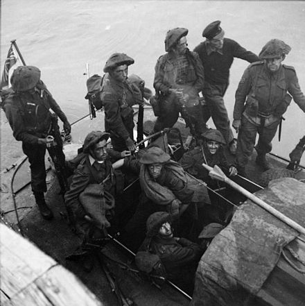 Unlike No. 4 Commando, No. 3 wore steel helmets during the raid No. 3 Commando men after Dieppe raid.jpg