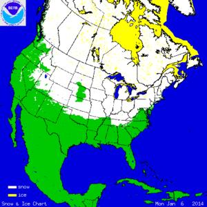 Het gebied dat met sneeuw is bedekt op 6 januari 2014