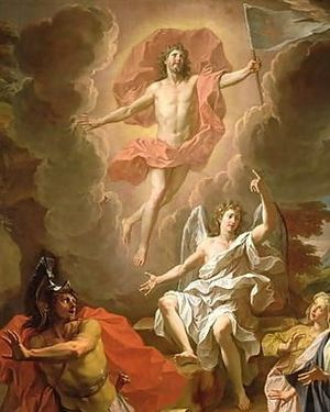 Resurrection of Jesus - Resurrection of Christ by Noël Coypel, 1700, using a hovering depiction of Jesus