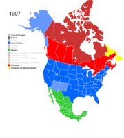 Map showing Non-Native American Nations Control over N America c. 1907