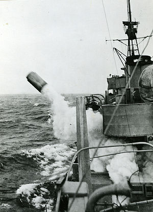 English: Depth charge being fired from the Swe...