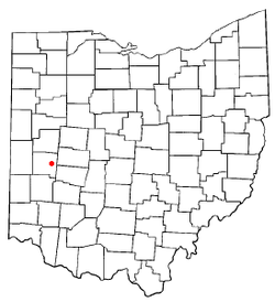 Location of Casstown, Ohio
