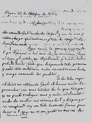 Battle of Alegría de Álava - Letter from Manuel O'Doyle to Joaquín de Osma. October 26, 1834. In the letter, O'Doyle expresses his concerns about the orders he has received from Osma to abandon Alegría de Álava.