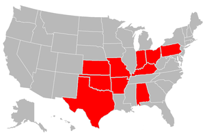 Governor of Oklahoma - Red states indicate US states where Governors of Oklahoma were born.