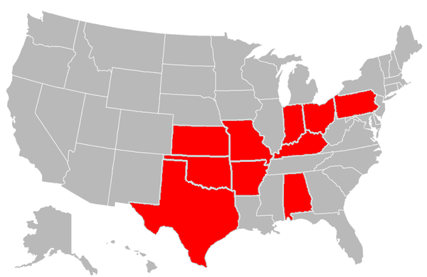 Red states indicate US states where Governors of Oklahoma were born. Oklahoma Governors by state.png