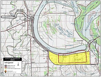 Battle of Old River Lake - Map of Old River Lake Battlefield core and study areas by the American Battlefield Protection Program.