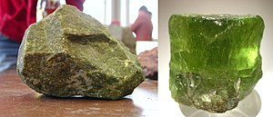 Peridotite - Typical peridotite sample (dunite, left) and large olivine crystal (right)