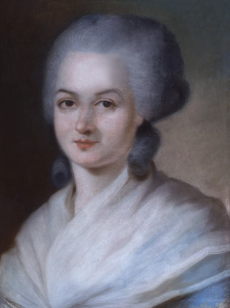 Olympe de Gouges was the author of the Declaration of the Rights of Woman and of the Female Citizen in 1791. Olympe de Gouges.png