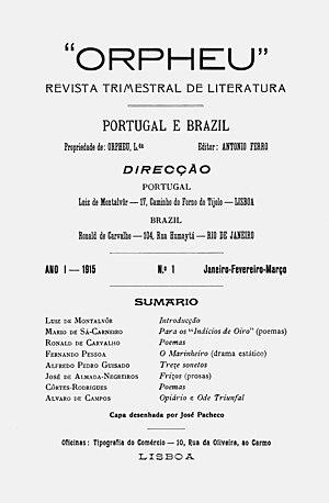 Geração de Orpheu -  Title page of ORPHEU nr. 1.