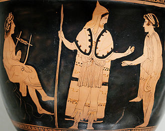 Orpheus - Orpheus (left, with lyre) among the Thracians, from an Attic red-figure bell-krater (c. 440 BC)