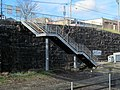 Outbound stairs at Natick Center station, April 2016.JPG