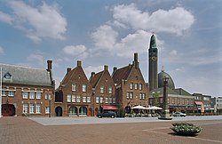 Square in Waalwijk with restaurants and church