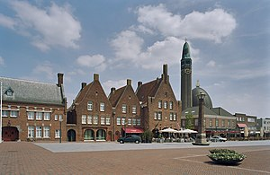 Waalwijk - Square in Waalwijk with restaurants and church