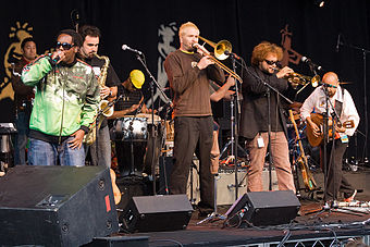 Two-time winners Ozomatli. Ozomatli in Edmonton 2007.jpg
