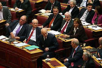PASOK - PASOK members of the Greek parliament during the discussion of the 2009 budget