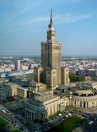 Communist aspirations were symbolized by the Palace of Culture and Science in Warsaw PKiN widziany z WFC.jpg