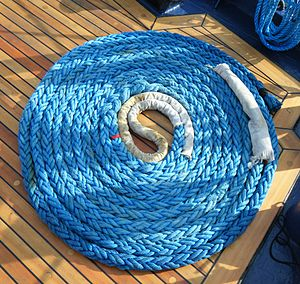 Mooring (watercraft) - Mooring line of Polish ship Fryderyk Chopin.