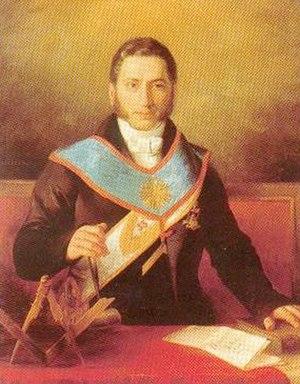 Pierre-Théodore Verhaegen - Verhaegen with masonic symbols