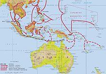 Carte des mouvements allant du sud-est de la Chine jusqu'à l'Australie et les îles Fidji.