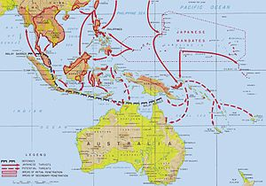Proposed Japanese invasion of Australia during World War II - Japanese advances in the Southwest Pacific and Southeast Asia areas during the first five months of the Pacific Campaign of World War II. The proposed offensive on Fiji, Samoa, and New Caledonia is depicted in the lower right corner.