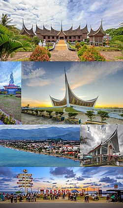 From top, left to right: Adityawarman Museum/West Sumatra's traditional house (with iconic Minangkabau architecture),  Padang Area Monument, Grand Mosque of West Sumatra, Aerial view of Padang city, Fadli Zon Cultural Center, and sunset at Padang Beach.