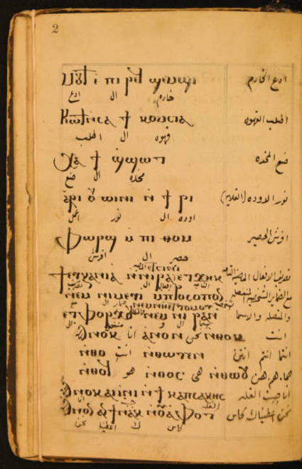 Page from 19th century Coptic Language Grammar