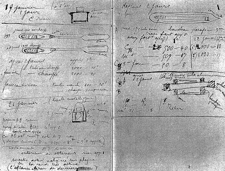 File:Pages from Marie Curie's notebook, Wellcome L0001764 ...