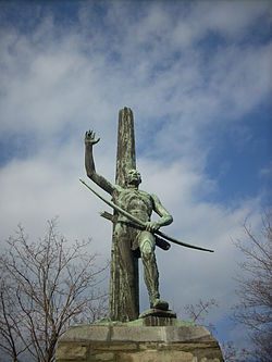A monument to the Seneca Indians in Painted Post
