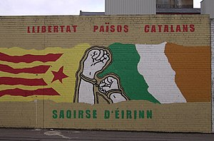 "Catalan Countries - A mural on Belfast's Falls Road. It reads ""Freedom for the Catalan Countries"" (in Catalan) and ""Freedom for Ireland"" (in Irish)"