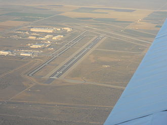 Palmdale Regional Airport - Looking down runway 7 from about 6000 feet AGL in 2007.