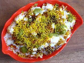 Cuisine of Uttar Pradesh - Papdi-chaat has its roots in Uttar Pradesh.