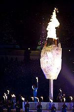 Zach Beaumont, 15, from Delta, lit the Paralympic cauldron, at the Winter Paralympics 2010 in Vancouver, Canada.