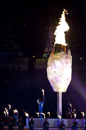 2010 Winter Paralympics opening ceremony - The 2010 Paralympic cauldron, lit by Zach Beaumont, 15, from Delta.