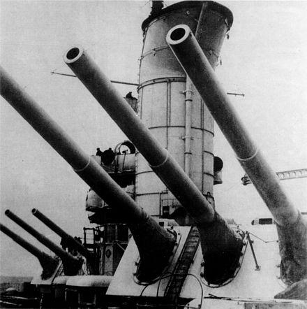 Two emplacements similar to these 12-inch (305 mm) guns of the Soviet battleship Parizhskaya Kommuna were erected to protect Vladivostok harbor in 1934. ParizhskayaKommuna-mainguns.jpg