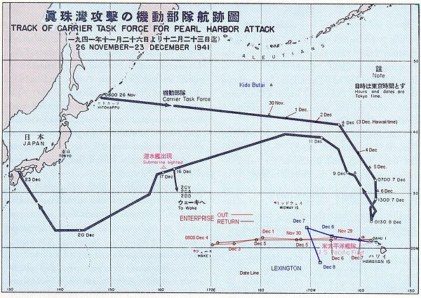 Japanska flottans väg till- och från Pearl Harbor