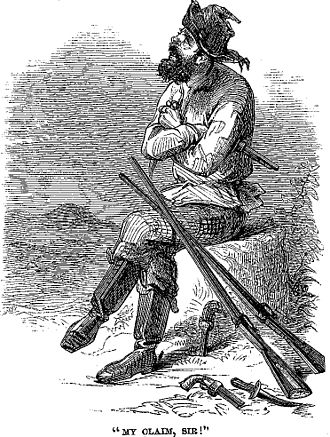 """General Mining Act of 1872 - """"My claim, Sir!"""" A prospector defends his claim at the Comstock Lode, 1861."""