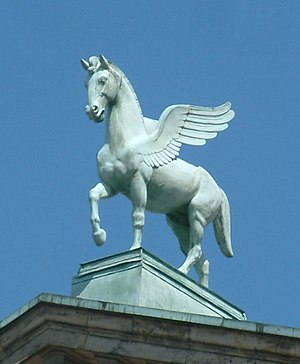 Pegasus - Pegasus, as the horse of Muses, was put on the roof of Poznań Opera House (Max Littmann, 1910)