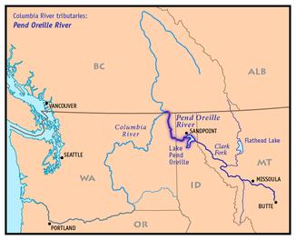 Einzugsgebiet des pend oreille rivers mit seinen nebenflüssen