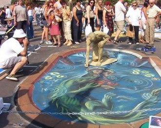 Street painting - Painter Manuel Bastante, Pantomime Pablo Zibes, Festival Mantova, Italy