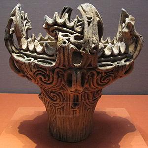 Japanese pottery and porcelain - Jomon pottery flame-style (火焔土器, kaen doki) vessel, 3000-2000 BCE, attributed provenance Umataka, Nagaoka, Niigata