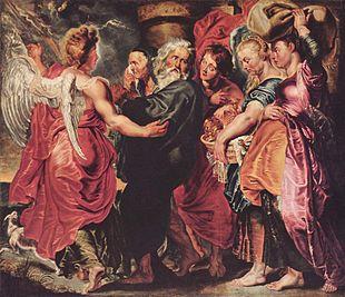 Lot fugge da Sodoma con la sua famiglia, di Pieter Paul Rubens (1615 circa)
