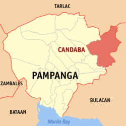 Map of Pampanga showing the location of Candaba