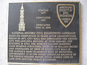 American Society of Civil Engineers - ASCE Historical Marker at Philadelphia City Hall.