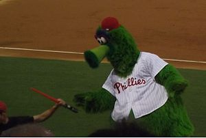 "Phillie Phanatic - When the Phillies hosted a ""Star Wars night"" in August 2014, the Phanatic got in on the fun by using a lightsaber atop the visitors' dugout"